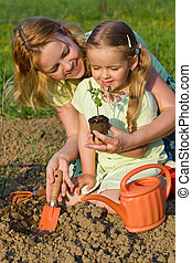 Woman and little girl growing healthy food - planting tomato...