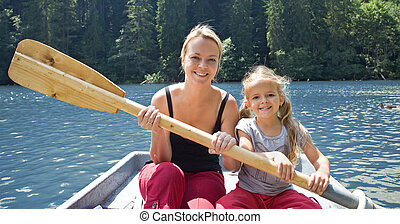 Woman and little girl on the lake in a little boat