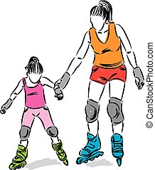 woman and little girl with roller skates