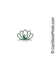Woman and lotus flower silhouettes.