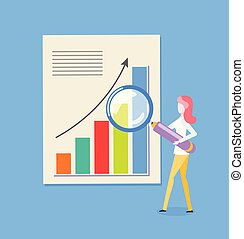 Woman and Loupe, Chart with Rising Up Arrow Vector