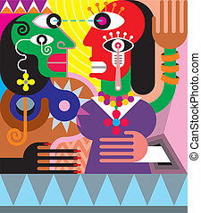 Woman and man abstract vector illustration. Modern fine art....