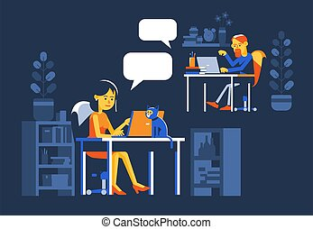 Woman and man chatting online at night.
