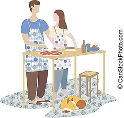 woman and man cooking pizza together. family cooking, weekend, home atmosphere