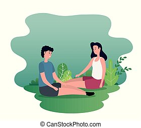 woman and man couple sitting together
