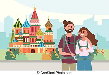 woman and man couple with backpack and camera
