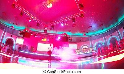 Woman and man dance on dancefloor - MOSCOW - OCT 28:...