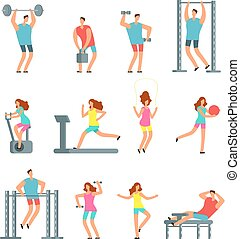 Woman and man doing various sports exercises with gym equipment. Fitness cartoon vector people, gym workout isolated