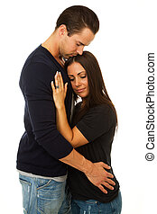 Woman and man embrace - Woman and man hug and embrace with...
