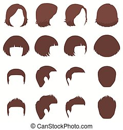 hair, vector hairstyle silhouette, front back and side view
