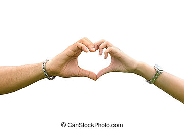 Woman and man hand making sign Heart isolated on white background