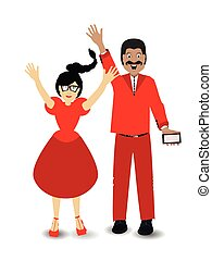 woman and man hands up. illustration