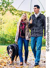 Woman and man having walk with dog in autumn rain