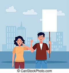 woman and man holding a blank sign, colorful design - woman ...