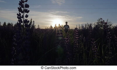 Woman and man holding hands walking in a field with flowers at sunset. Slow motion