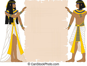 Woman and Man Holding Papyrus - Vector illustration of...