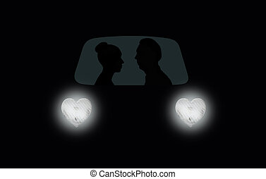 Woman and man in car at night