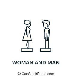 Woman and man in profile vector line icon, linear concept, outline sign, symbol