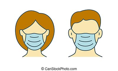 Woman and man in protective masks icon