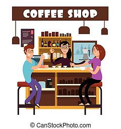 Woman and man meeting in coffee shop vector illustration