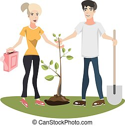 Woman and man planting a tree