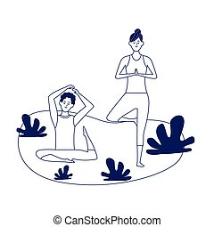 woman and man practicing yoga outdoors over white background, flat design, vector illustration
