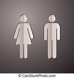 woman and man silhouette icon, cut paper woman and man, toilet symbols, woman and man concept
