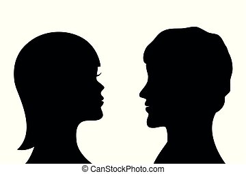 woman and man silhouette side profile