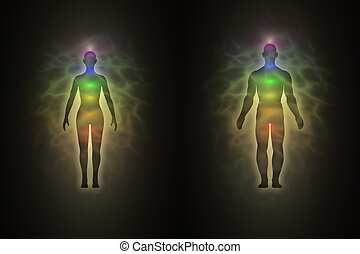Woman and man silhouette with aura