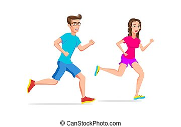 woman and man sport running or jogging couple vector ...