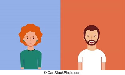 woman and man talking conversation