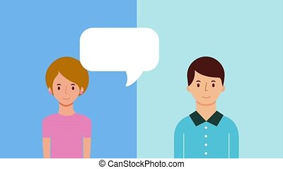 woman and man talking conversation speech bubble animation...