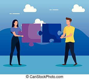 woman and man teamwork with puzzles and clouds