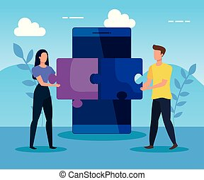 woman and man teamwork with smartphone and puzzles