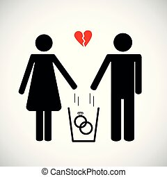 woman and man throws heart in the trash pictogram icon