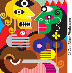 Woman and man - vector illustration. Gypsy woman and her jealous husband.