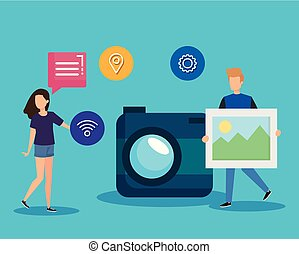 woman and man with social media and camera technology