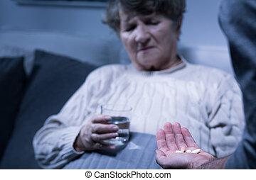 Woman and medicine
