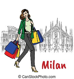 woman and Milan Cathedral - Sketch of woman with shopping...