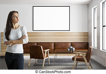 woman and mockup poster in modern room