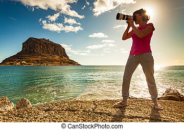 Woman and Monemvasia island Greece - Woman with camera ...