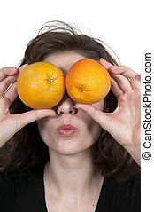 Woman and Orange - Beautiful woman with a fresh and juicy...