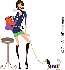 Woman and pet go shopping