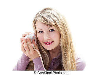 woman and pet rat