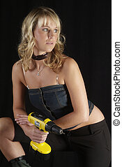 woman and power drill