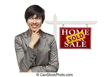 Woman and Sold Home For Sale Real Estate Sign Isolated -...