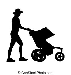 Woman and stroller - Silhouette of a woman walking with a...