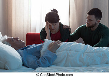 Woman and supporitve husband - Broken down woman after...