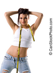 Woman and tape measure