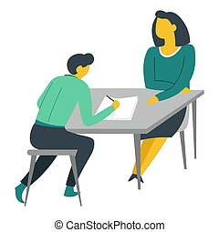 Woman and teenager doing homework at table mother or teacher...